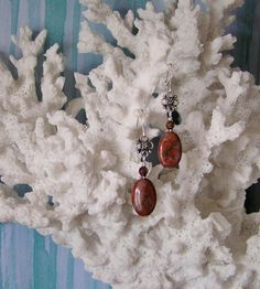 Natural Jasper Earrings with Natural Red Sesame by SmockandStone, $17.00