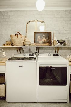 It's time for the full reveal of our laundry room! I've been waiting patiently to share a reveal of our laundry room & we just recently finished up some final touches so here it is. Pantry Laundry Room, Laundry Room Shelves, Farmhouse Laundry Room, Laundry Rooms, Mud Rooms, Fresh Farmhouse, Farmhouse Decor, Best Gray Paint Color, Rustic Vintage Decor