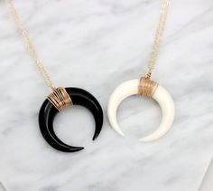 Modern, stylish 14k Gold fill, Sterling Silver or Rose Gold filled horn necklace, a perfect boho layering necklace, choose your color: White or Black Moon. Large Double Horn Necklace Large real bone h