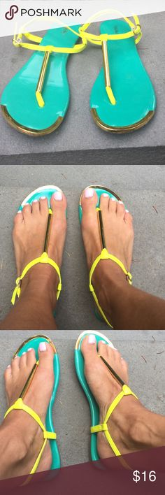 Bright Summer Sandals☀️ Super Cute Gold, Turqoise  and neon yellow sandals the most Perfect shades with a TAN!!! Only wore once in Like New Condition!! Youll Love them for sure !! mossimo Shoes Sandals
