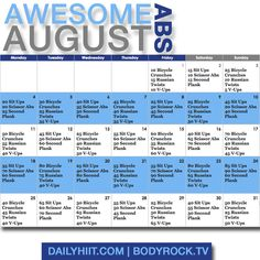 Awesome Abs August Challenge