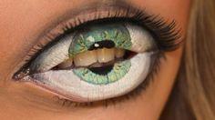 lustiges Lippenstift Augen Schminke Ideen grün