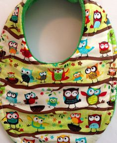 Baby Bib Hoot Owl Triple layer Super Absorbent on Etsy, $7.99