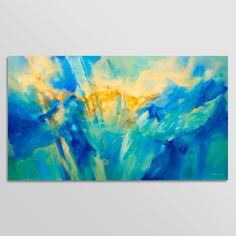 Peinture abstraite Turquoise bleu vert jaune peinture