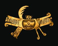 Mask Ornament  Peru, Recuay, 1st-6th Century Cut And Hammered Gold Overall: 27.4cm X 38.8cm