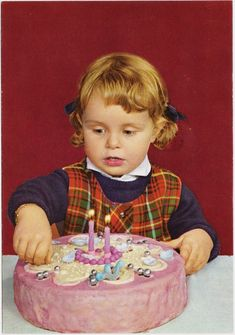 Vintage photo of two-year-old girl with birthday cake!