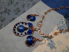 Royal blue glass, crystals, and copper necklace and earrings set