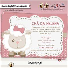 Não tem quem não se encante com a delicadeza do Convite para Chá de Bebê Ovelhinha. A combinação das cores rosa seco e creme com um leve toque de marrom, enchem os olhos...