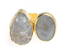 24K Yellow Gold Plated Drusy Quartz Mother of Pearl White Tonal Natural Two Stone Adjustable Ring Modern Curated Collection,http://www.amazon.com/dp/B00JHAF22U/ref=cm_sw_r_pi_dp_jyxEtb1KFTK2Q1SQ #Handmade #Jewelry #Vintage #Antique #Design #Gemstone #Natural #Stone #Adjustable #Ring #ChicBahar