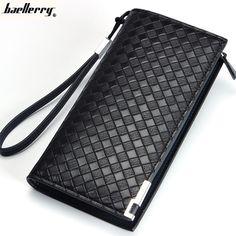 Casos de cartera teléfono Baellerry Long men Leather Check Wallets Multifunctional Classic Business man purse Large Capacity Clutch bag SA017 ** La oferta se puede encontrar haciendo clic en la imagen
