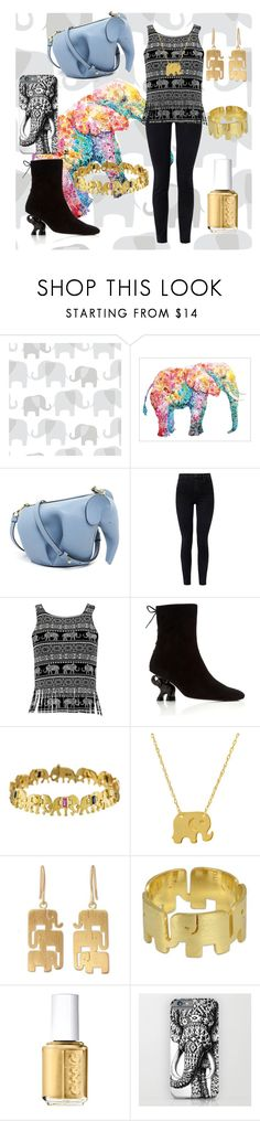 """""""elephant 🐘🐘"""" by cecilvenekamp ❤ liked on Polyvore featuring Loewe, J Brand, Dorateymur, Marc Alary, Amanda Rose Collection, NOVICA and Essie"""
