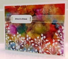 - Riot of Colour ! Splitcoaststampers: FOOGallery -- Riot of Colour Alcohol Inks Techniques - Crafts & Projects Gallery Alcohol Ink Crafts, Alcohol Ink Painting, Alcohol Ink Art, Watercolor Cards, Watercolor Background, Watercolour, Card Making Techniques, Card Tutorials, Copics