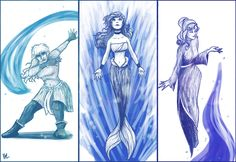 Disney Waterbenders by *bealor on deviantART - More ATLA Princesses, this time the waterbenders: Kida (YESSSS), Aurora, and ofc Ariel. <3