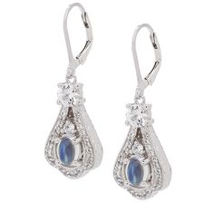 Generations 1912 Blue Moonstone & White Sapphire Sterling Silver Earrings,