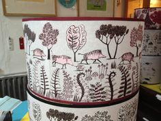 Lush lampshades - green and pink