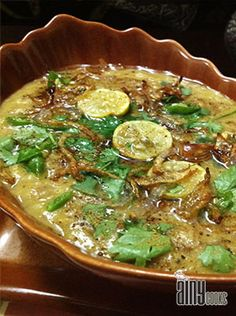 """HALEEM - An age old dish, speciality of hyderabadi's in the holy month of Ramzan. This dish is made out of different types of pulses and lamb. It's healthy and tasty and most of all """"hyderdabadio ki jaan""""."""