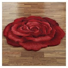 Raelyn Red Rose Flower Shaped Rugs ❤ liked on Polyvore featuring home, rugs, circular rugs, round red rug, round rugs, flower area rug and red wool rug