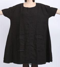rundholz dip - Kleid Leinen mit Taschen Oversize black - Sommer 2016 - stilecht - mode für frauen mit format...