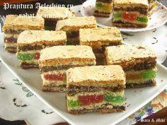 prajitura-arlechino-cu-rahat-si-nuca-5-1 Romanian Desserts, Sandwiches, Sweet Treats, Cheese, Food, History, Tarts, Mudpie, Sweets