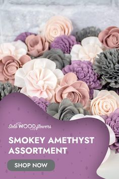 This beautiful Smokey Amethyst sola flower assortment is sure to please. The dark grey and vibrant purple, provide the perfect contrast to the lighter pinks. Dyed assortments are perfect for wood flower bouquets, centerpieces, or any other project you're working on. #diyflowers #woodflowers #solawood #diycraft #craftideas #diy #preservedflowers