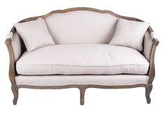 Sofa i lin m/eikeramme