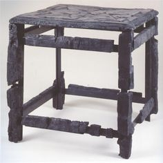 Small stool, carbonized wood, buried in the eruption of Vesuvius, in Herculaneum, 79CE