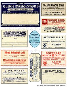 Vintage Medical Pharmacy Poison Labels Set 1 by TheOldDesignShop, $3.50