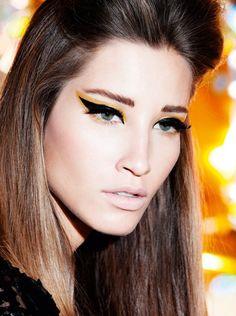 black-yellow-cat eye makeup