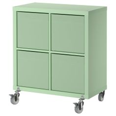 One or two of these would be great way to discreetly store my craft supplies. KALLAX/DRÖNA Shelf unit on casters with box - IKEA