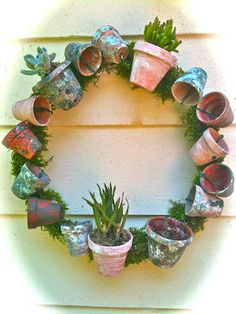 DIY flower pot wreath with succulent plants