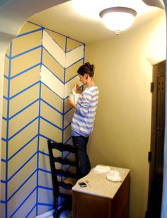 Chevron how-to...maybe for an accent wall like in closet or a bathroom