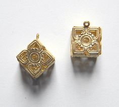 Brass Box Charm Filigree Box Charm Cube by DecadentBrassGlass