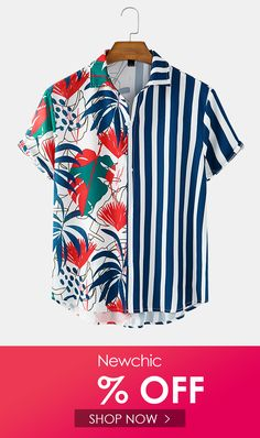 I found this amazing Mens Printed Floral Stripe Patchwork Holiday Casual Short Sleeve Shirts with £17.99,and 14 days return or refund guarantee protect to us. --Newchic Mens Printed Shirts, Gents Kurta, Mens Designer Shirts, African Men Fashion, Shirt Mockup, Floral Stripe, Casual Shirts, Shirt Style, Shirt Designs