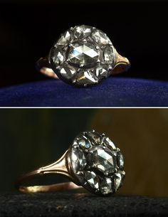 1790s Georgian Rose Cut Diamond Cluster Ring