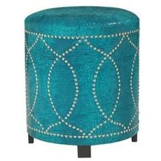 Turquoise Leather with Nickel Nailhead Round Ottoman