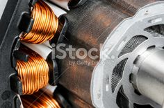 Permanent magnet motor disassembled close-up Royalty Free Stock Photo