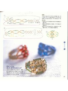 abalorios: esquemas de anillos y colgantes
