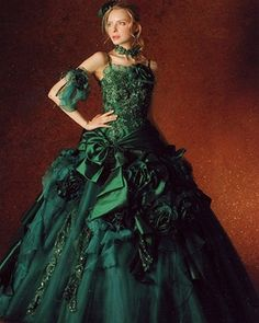 This Beautiful Colored Wedding Dress Is Made With Gorgeous Bridal Satin And Organza Green