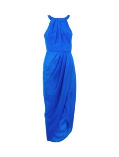 The halter neckline and draped fabric, give this Blue High Neck Wrap Front Maxi Dress a chic and contemporary feel. #newlook #fashion