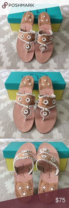 Jack Rogers Napa Valley in White/Cork • Brand new & comes with the original box  • 100% Authentic Jack Rogers in the style Napa Valley White/Cork • Size 7 • MSRP $118+ tax  These are lovely chic must have sandals!   Note: No trades/My price is firm! Some are selling used pairs for even more. Jack Rogers Shoes