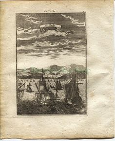 "1719 Manesson Mallet ""La Rache"" Larache, Morocco, North Africa, Ships, Port View, Antique Print by TheOldMapShop on Etsy"