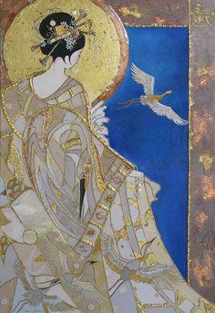 fine artistic geisha art | Geisha-with-Blue-by-Sharon-Butler-Geisha-with-Blue-20x16-Multi-media ...