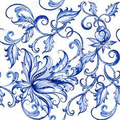 Vector Acquarello Floreale Texture Con Flowers.Watercolor Motivo Fiori…