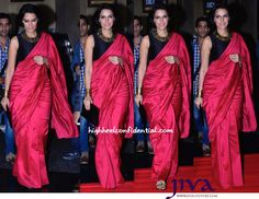 Wearing a Payal Singhal sari, Neha attended her movie's trailer launch. Gold cuffs on each hand, BCBG clutch and Jimmy Choo sandals finished out her look.  As the evening progressed, the stiff silk sari seemed to have gotten better of Neha. Given that she looked good otherwise, we are willing to overlook that though. Love the color on her!
