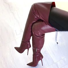 Womens Thigh High Boots, Thigh High Boots Heels, Heeled Boots, Long Leather Skirt, Stockings Heels, Sexy Boots, Thigh Highs, Over The Knee Boots, Stiletto Heels