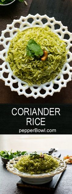 Coriander Rice / Coriander Pulao is super easy and very healthy, with step by step pictures and instructions. one pot dish.