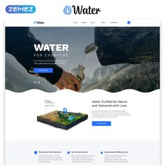 This Landing Page HTML Template was developed for drinking water companies. It has an attractive design and clean coding. Html Templates, Page Template, Website Template, Landing Page Html, Water Company, Water Delivery, Healthy Water, Drinking Water, Aqua