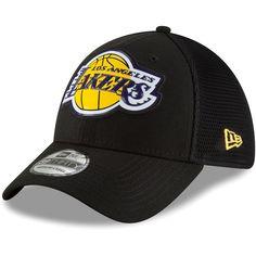 Men s Los Angeles Lakers New Era Black Fan Mesh 39THIRTY Flex Hat 359a57acfd9