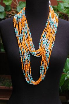 Layered Beadwork Necklace Long Necklace Orange by stylelovers