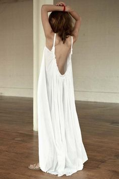 The maximal luxury of lounge comfort, Loup Charmant's Gathered Gauze Maxi Dress celebrates your inner goddess, as barely-there straps fall to a scooped low-cut back. One size fits most. - Dips low in                                                                                                                                                                                  More